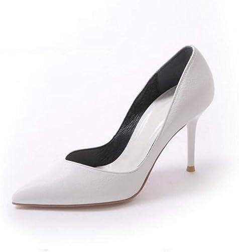 FUTER Escarpins Femmes Printemps été Chaussures à Talons Hauts Chaussures De Mariage Chaussures Individuelles Travail Loisir Talon Blanc 7.5cm (Couleur   blanc, Taille   EU39 UK6 CN39)