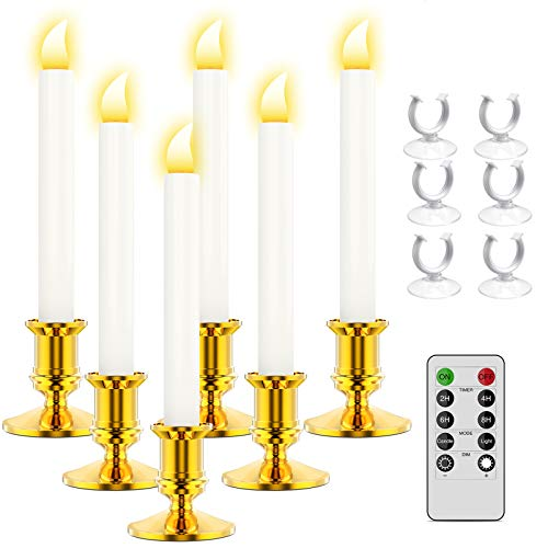 Ronxs Window Candles, 6 Pcs LED Candles wif Timer, Outdoor Christmas Decorations Flameless Candles Battery Operated Flickering Candles wif 1 Remote Controls, Glod Candle Holders