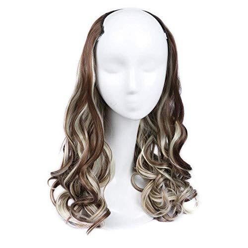"""22"""" Blonde Brown Half U Perruque Partie Clips Color Mix Cheveux Ondulés Extension Moitié Perruque pour Les Femmes Haute Densité Température Perruque S"""