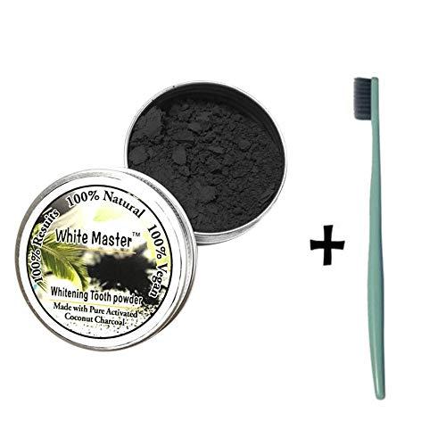 hahuha Schönheit ?sprodukte Kompatibel mit Erwachsene, Zahnaufhellung Natürliches organisches Aktivkohle-Bambuspulver mit Zahnbürste