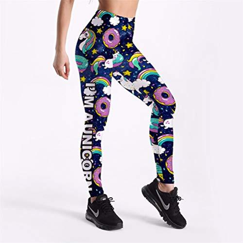 VIDEFS.LEG Pantalones de Verano de Mujer Donuts Lindos Unicornios Impreso Leggings de niña XXL