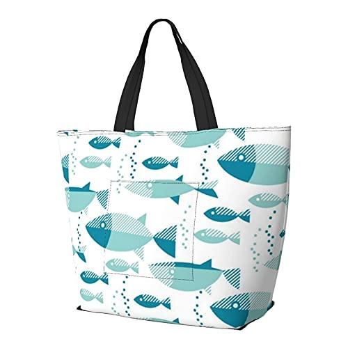 FJJLOVE Bolso de hombro Blue River Fish sin costuras de gran capacidad bolso de mano ligero bolso de playa de viaje para mujer