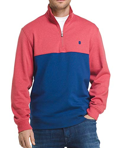IZOD Blue Mens Small Colorblock Stretch 1/2 Zip Sweater Red S