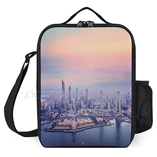 Lunch Box for Kids Lunch Bags with Bottle Holder for Women Men Stunning Kuwait City Persian Gulf Travel Fashion Insulated Lunchbox Large Reusable Meal Prep Bag for Work School Picnic
