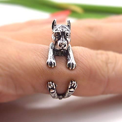 Anillo Ajustable Mujer,Vintage Silver Bulldog Perro Animal Hip Hop Punk Ajustable Open Knuckle Tail Ring Dedo Articulación del Dedo del Pie Anillo De Joyería para Mujeres Niñas Regalo Compromiso