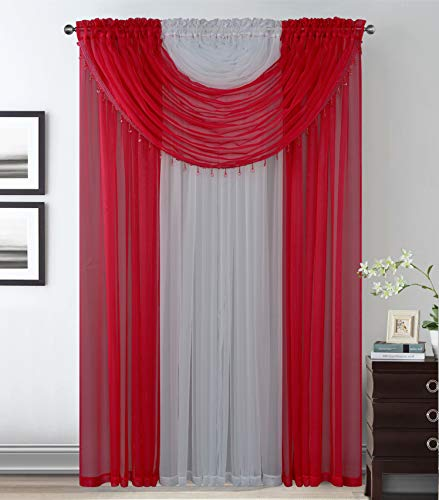 Luxury Home Collection Complete Window Sheer Curtain All-in-One Set with 4 Attached Panels and 2 Attached Valances with Beads- Window Curtain for Living Room, Bedroom, or Dining Room (Red/White)