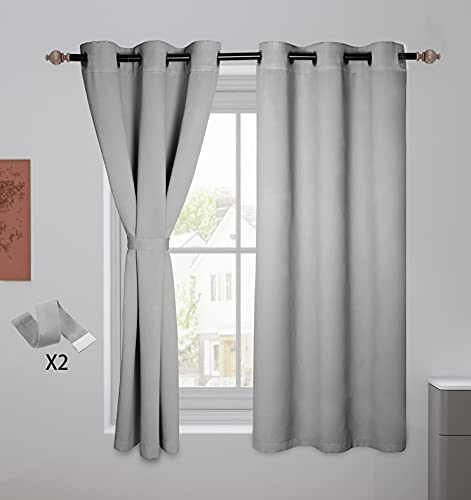 Blackout Curtains for Bedroom, 63 Inch Length Room Darkening Curtain, Grommet Light Blocking Thermal Insulated Window Curtain Panels, Noise Reducing Drapes, Grey, 42 X 63 Inch, Set of 2 Panels