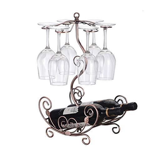 HTDZDX Estante del vino creativo Al revés Estante del vino Estante del vidrio de vino Estante del hierro labrado Estante del vino europeo Estante de la botella de vino Adornos de moda