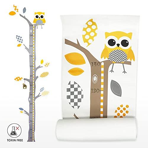 Brunoko stickers muraux enfants + toise murale enfant 2 en 1 - stickers chambre bébé pour decoration chambre bébé - Amovible écologique autocollant mural arbre et hibou - Conçu en Espagne