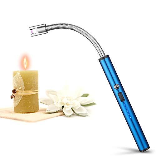johgee Encendedor de Velas,Encendedor Eléctrico,Encendedor de Arco Eléctrico con Pantalla LED de Batería,USB Recargable para Camping,Cocina,BBQs,Fuegos Artificiales (Azul)