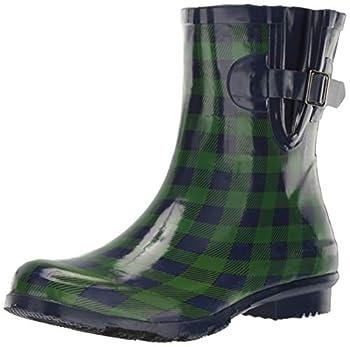 Nomad Women s Droplet Rain Boot Navy/Green Gingham 7 Medium US