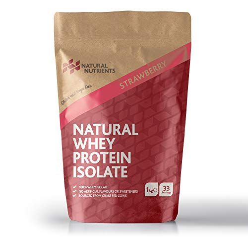Natural Nutrients Protein Powder- Nutritional Fitness Supplement Natural Whey Protein Isolate - Strawberry Flavour - 1KG pack