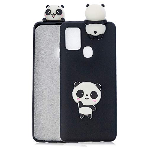 Unichthy Samsung Galaxy A21S Case Cover with Cute Doll, 3D Cartoon Silicone Soft Gel Shockproof Protective Cases Slim Ultra Thin Rubber Bumper Funny Girly Shell for Samsung Galaxy A21S - Black Panda