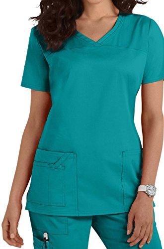 Smart Uniform  1122 V Neck top, S, Teal [Aquamarin]1