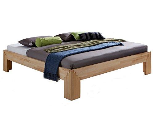 Unbekannt Massivholz-Bett Selina 180 x 200 cm aus Kernbuche, Holzbett, als Doppel- und Jugend-Bett verwendbar, inkl. Stecksystem, 1 Bett á 180 x 200 cm