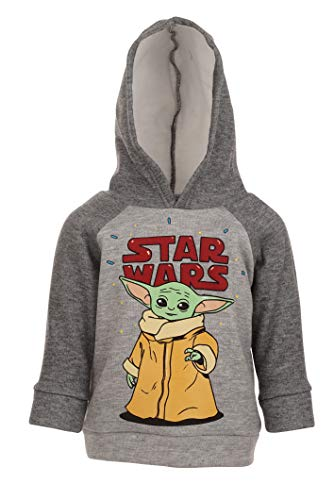 Star Wars The Mandalorian Baby Yoda Big Boys Fleece Pullover Hoodie Gray 18-20