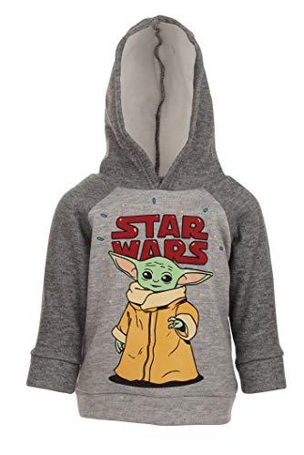 Star Wars Yoda Mandalorian Baby Boys Fleece Pullover Hoodie Sweatshirt 18 Months Gray