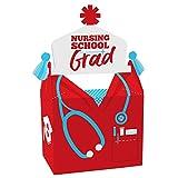 Big Dot of Happiness Nurse Graduation - Treat Box Party Favors - Medical Nursing Graduation Party Goodie Gable Boxes - Set of 12