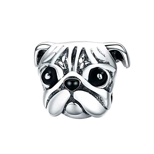 Love Dog Charm 925 Sterling Silver French Bulldog Charm Puppy Pet Dog Animal Charms for Dog Lovers (Love Dog - Pug)
