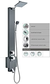 """Blue Ocean 48"""" Stainless Steel SP824322 Shower Panel Tower with Rainfall Shower Head and Spout"""
