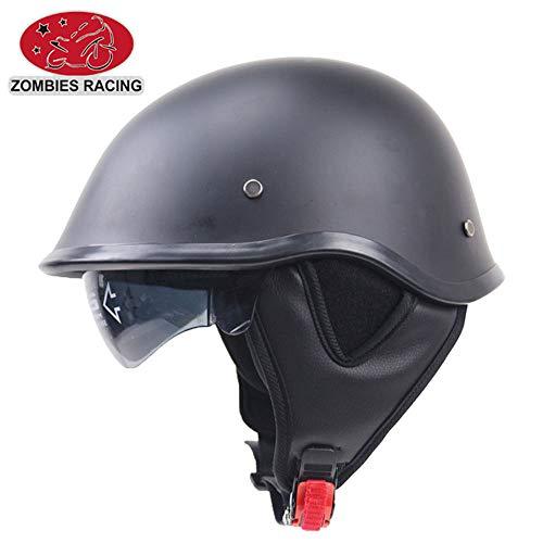 Moto Helmets-Braincap Wehrmacht Stahl Halbschalen Motorrad Vespa Scooter Jet Bobber Helm Pilot Cruiser Vintage Moped Chopper Helm Biker Retro DOT Zertifiziert,XL