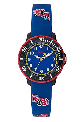 s.Oliver Unisex Kinder Analog Quarz Uhr mit Silikon Armband SO-3603-PQ