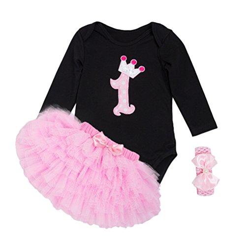 Zhhlinyuan for 0-24 Months Kids Clothes Outfit Set Fashion Newborn Bébé Girls Cotton Romper Tutu Skirt + Headband