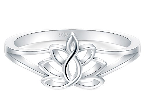 BORUO 925 Sterling Silver Ring, Lotus Flower Yoga High Polish Tarnish Resistant Comfort Fit Wedding Band 2mm Ring Size 7.5