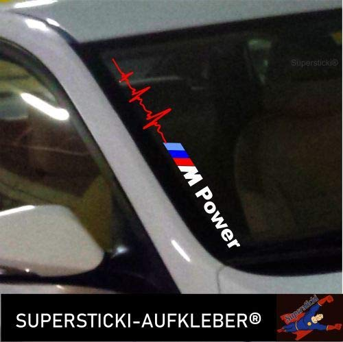 SUPERSTICKI®Winschutzscheibe Aufkleber ca.55cm Herzschlag M Power farbig Autoaufkleber Tuning Decal A677 aus Hochleistungsfolie Aufkleber Autoaufkleber Tuningaufkleber Hochleistung