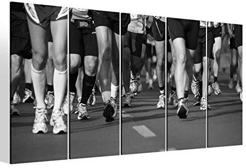 Leinwandbilder 5 teilig XXL 200x100cm schwarz weiß Sport Start Laufen Lauf Fitness Läufer Marathon Druck auf Leinwand Bild 9BM2432