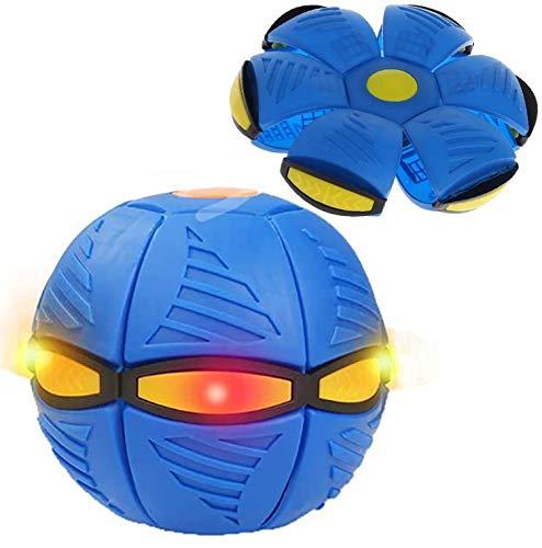 Bola mágica ovni deformada platillo volador bola frisbee deformada bola de padres e hijos juguetes de playa, deportes al aire libre, regalo con luz LED y efectos de sonido (color azul)