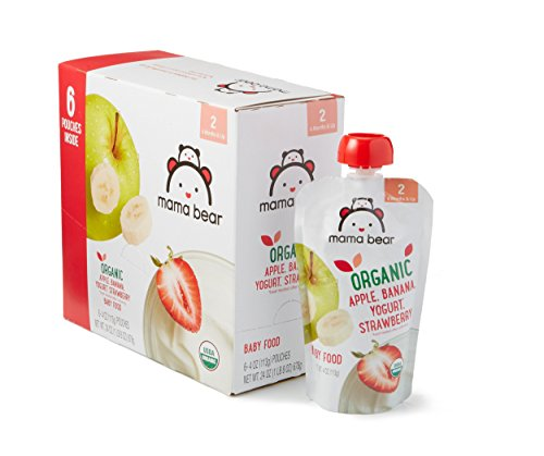 Amazon Brand - Mama Bear Organic Baby Food, Stage 2, Apple Banana Yogurt Strawberry, 4 Ounce Pouch (Pack of 12)