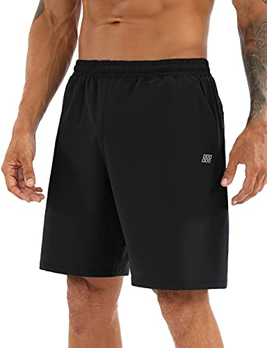 ODODOS Men's 9' Inseam Classic Fit Running Shorts with Pockets Quick Dry Athletic Gym Workout Performance Biker Shorts, Black, Large