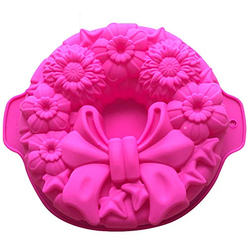 Demarkt 1pcs Moule à Savon Fait Main de Noël Outils de décoration de gâteaux Moules de Cuisson à gâteaux (Rose Rouge) 30 * 26 * 5.5cm
