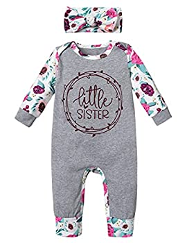 Newborn Baby Girl Clothes Winter Cute Baby Girl Little Sister Floral Romper + Headband 2PCS Outfits Set Newborn