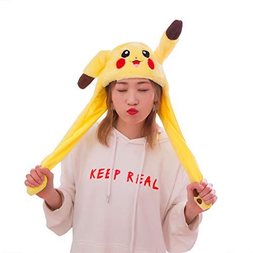BDFA Divertido Sombrero de Peluche de Pikachu, Sombrero de Salto con Oreja en Movimiento, Disfraces de Cosplay, Accesorios, Gorro de Peluche