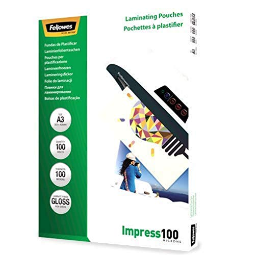 Fellowes 5351205 Pochettes de plastification 100 microns - Format A3 - Pack de 100 pochettes - Technologie ImageLast