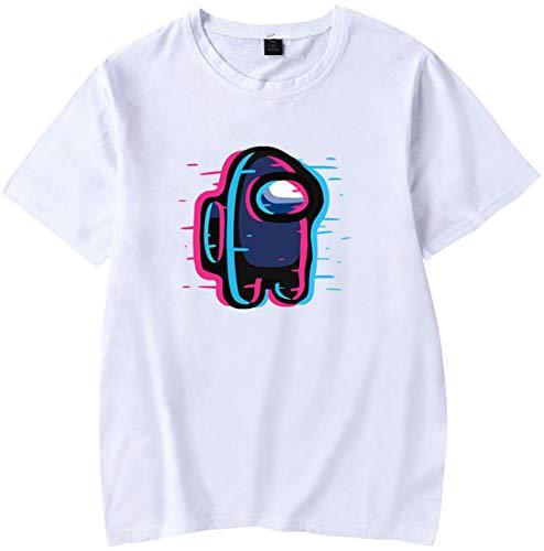 Chaos World Among US T-Shirt Homme Série de Couleurs Pures Jeu Électrique Manche Courte(001 Blanc Abat-Jour, S)