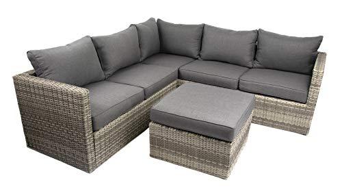 Green Spirit - Gartenlounge Parla XL - Grau, Polyrattan, für 5 Personen, Wetterfest, Gartenmöbel-Set mit Ecklounge und Tisch-Hocker
