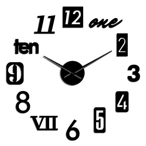 Reloj de pared Diferentes tipos de números Reloj silencioso 3D Diy Reloj Autoadhesivo Moda Kit para el hogar Decoración Regalo de inauguración Reloj de pared moderno para el hogar Oficina Escuela