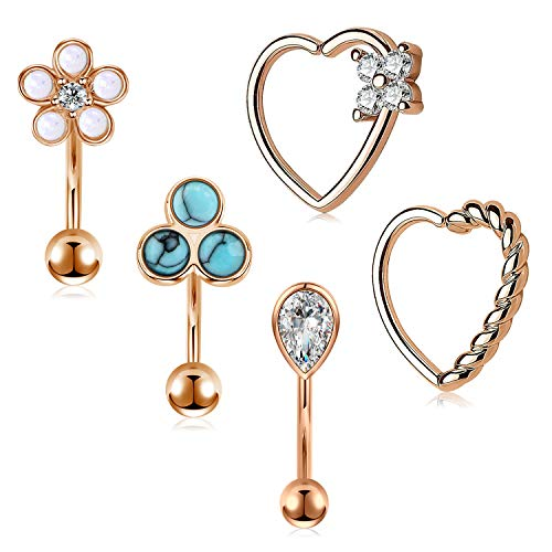 AceFun 5Pcs Daith Rook Piercing Earrings 16G Surgical Steel Heart Shaped Closure Rings Curved Bar Barbell with Opal Zircon Turquoise Daith Conch Earrings Piercing Jewelry for Women Rose Gold Set