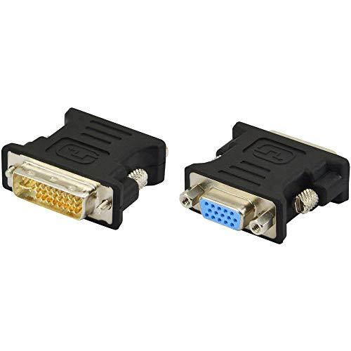A ADWITS Adaptador DVI a VGA, [Paquete de 2] DVI 24 + 5 pines (DVI-I) Convertidor macho a VGA hembra para…
