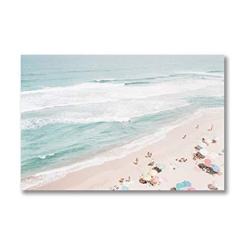 Strand Luftbild Poster und Fotos Sonnenschirm Wandkunst Seestück Leinwand Gemälde Nordische dekorative Bilder Küste rahmenlose dekorative Leinwand Gemälde G51 50x70cm