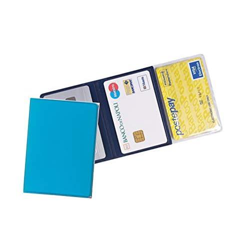 Porta carte di credito e tessere magnetiche 3 tasche (2 pezzi) in PVC azzurro