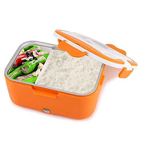 Laqemhu Warmer Lunch, 1.5L Portátil Coche Calentador Eléctrico Fiambrera Calentador de Alimentos Recipiente para Viajar (Color: Naranja + 12V)