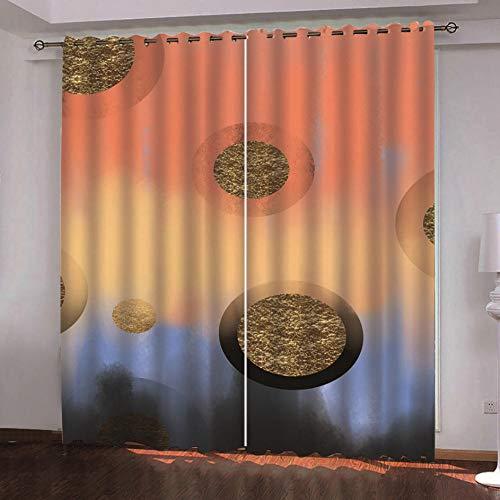 QDDRL gordijnen voor ramen en woonkamer, ondoorzichtig, ondoorzichtig, geïsoleerd, waterdicht, met oogjes voor de slaapkamer, 2 panelen, model cirkel van eenvoudige kunst