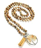 HEALING MALA Natural Healing Stone Mala Beads 108 Necklace with Dainty Tassel and Lotus or Tree of Life Charm (Picture Jasper)