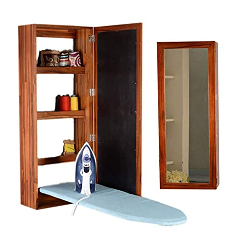 Jcnfa-Tablas de Planchar Gabinete De Tabla De Planchado Mueble De Almacenamiento Montado En La Pared Plegable con Espejo, Teca(Color:Teak)