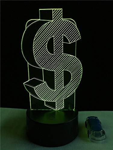 tzxdbh 3D illusie lamp 7 kleurverandering Desccreatief Dollar symbool RGB Cafe Shop Party Decor Multi Decortouch lamp kunst sculptuur lamp verjaardagscadeau