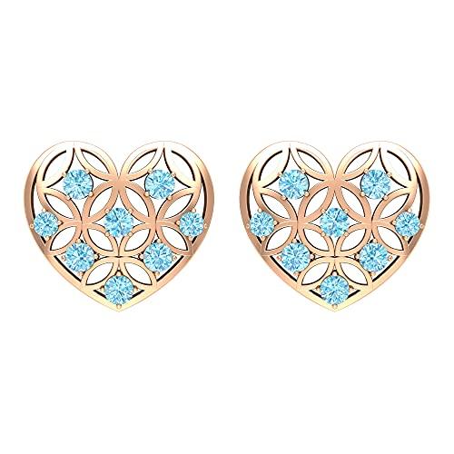 Rosec Jewels 14 quilates oro rosa redonda Blue Aquamarine